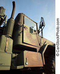 Heavy Duty Military Truck - A large army truck, painted in...