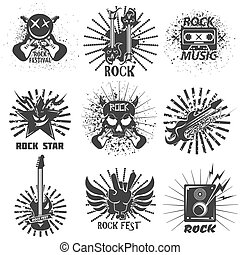 Rock band festival icons, skull and guitar vector emblems...