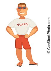 Guardian man in white t-shirt and shorts. Smiling athletic...