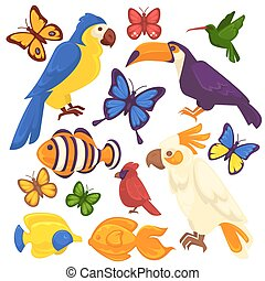 Exotic birds, tropical fishes and butterfly vector icons set...