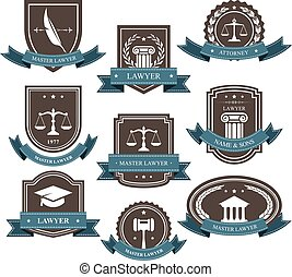 Master lawyer and attorney emblems, blazons and badges