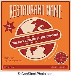 Illustration of fictional poster for restaurant on Mars. -...