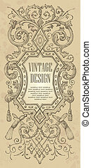 vintage frame design vector - ornate design with antique...