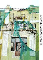 Window of abandoned building - Broken window of old...