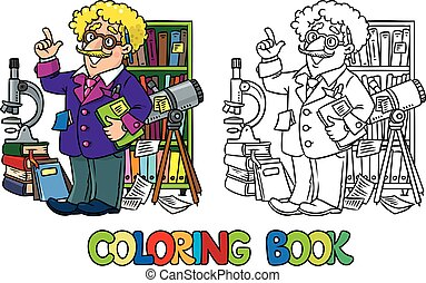 Coloring book of funny scientist or inventor. A man in...