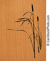 reed on wood background