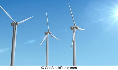 Wind Turbine Generator 3d render loop animation.