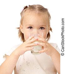 pequeno, menina, bebidas, leite