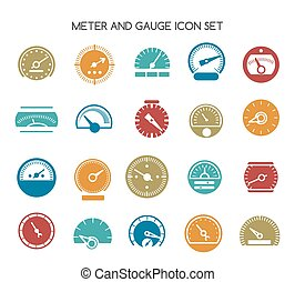 Speed gauge icons. Vector circular barometer or meter sign....
