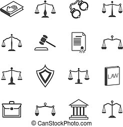 Law and justice icons. Judicial system verdict, attorney...