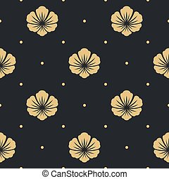 Seamless pattern black with flower