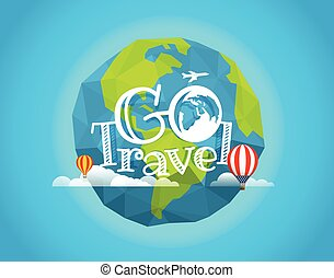 Travel vector illustration. Go travel concept with baloon...