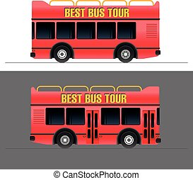 Red touristic bus vector illustration set