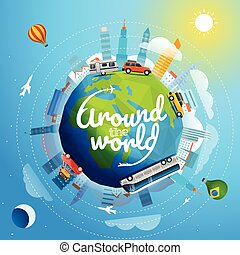 Around the world tour by different vehicle. Travel concept...