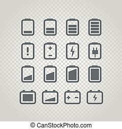 Different accumulator status icons set. Design elements set...