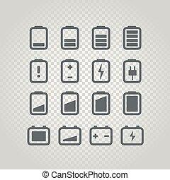 Different accumulator status icons set. Design elements set...