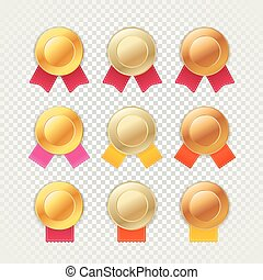 Different metal medals with color ribbons isolated on...