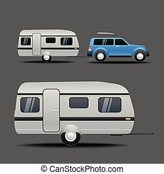 Modern car with the trailer. Vector illustration