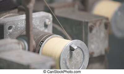 Coiled Copper Thread on a Spool - Metal wires and articles...