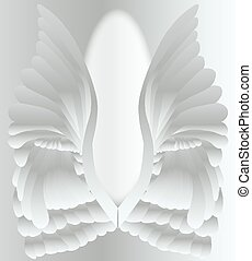 Silver Angel Wings - A large pair of silver angelic style...