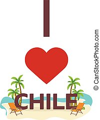 I love Chile. Travel. Palm, summer, lounge chair. Vector...