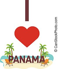 I love Panama. Travel. Palm, summer, lounge chair. Vector...