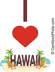 I love Hawaii, USA. Travel. Palm, summer, lounge chair. Vector flat illustration.