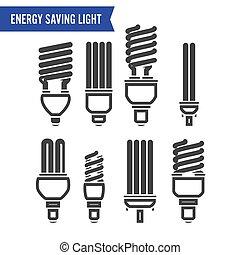 Energy Saving Light Vector. Set Of Energy Saving Light Bulbs...