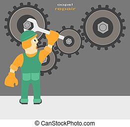 Worker repairs the mechanism - Funny Cartoon Composition on...