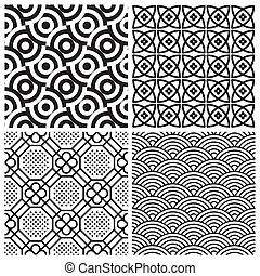 seamless patterns set vector - set of 4 seamless patterns,...