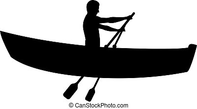 Silhouette of man in boat rowing isolated on white