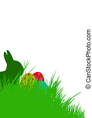 easter background - Easter bunny and Easter eggs on green...