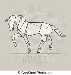 Vector illustration paper origami of horse. - Vector simple...