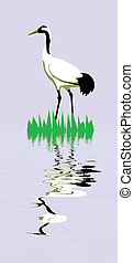 vector  drawing of the crane on turn blue background