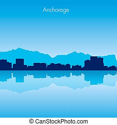 Anchorage Vector skyline - Anchorage USA Vector detailed...