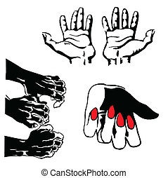 vector silhouette of the hands on white background