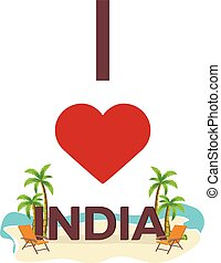 I love India. Travel. Palm, summer, lounge chair. Vector...