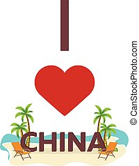 I love China. Travel. Palm, summer, lounge chair. Vector flat illustration.
