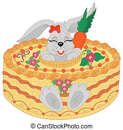 Happy birthday! Greeting card happy birthday cute rabbit with birthday cake.