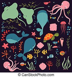 Collection of colorful sea and ocean animals whale octopus...