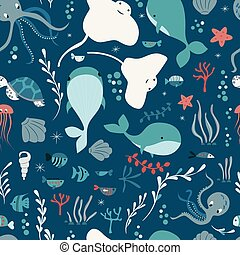 Seamless pattern with underwater ocean animals, whale,...