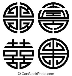 Traditional Oriental Korean symmetrical zen symbols in black symbolizing longevity, wealth, double happiness