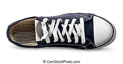 Single blue athletic shoe lying on its side isolated on...