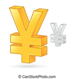 Golden And Silver Japanese Yen Currency Money Symbol