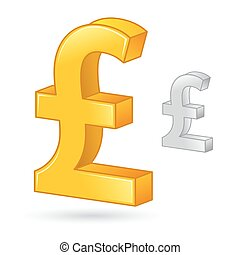 Golden And Silver Pound Sterling Currency Money Symbol -...