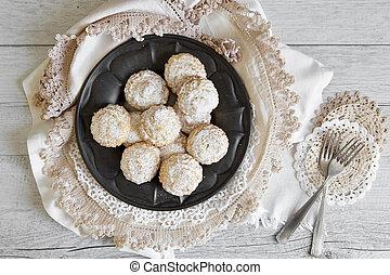 prato, coco,  icing, sobre, Açúcar,  pewter, biscoitos