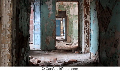 long corridor in the old house - very old dilapidated...