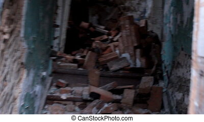 inside house after collapse - very old dilapidated...