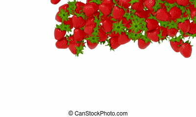 Strawberry flow with slow motion - Strawberry flow or stream...
