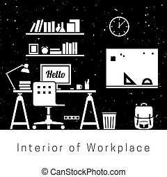 Workplace. Black and white silhouettes of Workroom interior.
